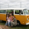 #1108 - 1976 Bay Window Bus (Orange/White 7-passenger)