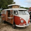 Cruel Buford (#1207) - 1965 Split Bus Camper (White over Sealing Wax Red Camper)