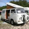 NewDee (#1306) - 1971 Bay Window Bus Camper (Pastel White)
