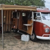 Bevo (#1207) - 1965 Tangerine and White Bus (Split Window) Camper
