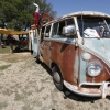 Karma the bus Pulling a Eriba Puck Camper (#0912) - 1964 patina (Turkis) Bus - Split Window