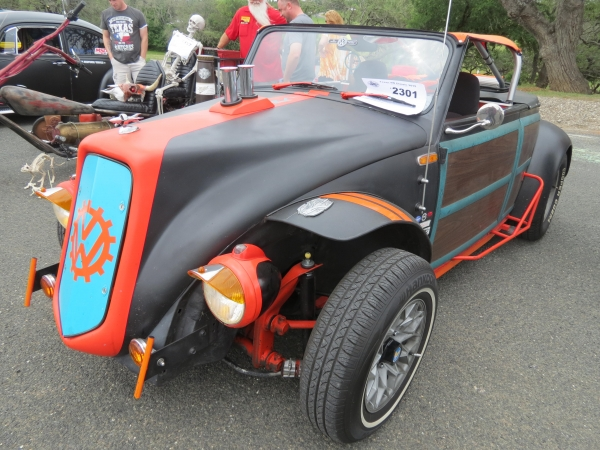 The Dub Tub (#2301) - 1968 Black, Teal, and Orange Beetle Convertible (Blown Woody Volkrod)